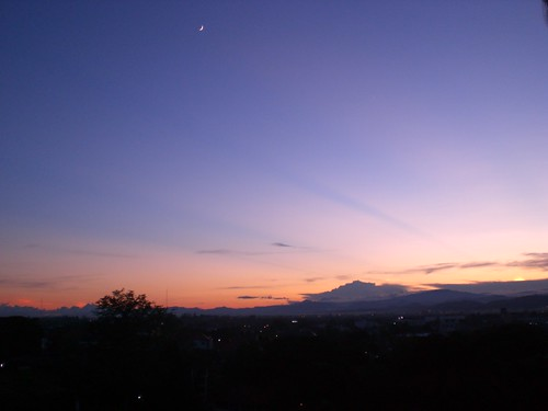 Sunset, Crescent Moon and the orange sky