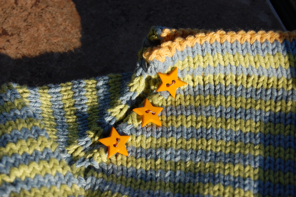 Stripe Sweater - Gold Star Buttons