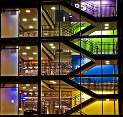 Parking Garage. (musicman67) Tags: glass colors lines stairs lights three photo washington gallery nightshot artistic pentax expression unique garage vivid symmetry explore pacificnorthwest form ppg artisticexpression colorfulworld fineartphotos artlibre platinumphoto colorphotoaward infinestyle citrit theunforgettablepictures vividmasters artlegacy colourartawards elitephotography pentaxphotogallery justpentax theperfectphotographer thebestvivid tup2 10colourartawards colorphotoawardgold cpa2008explorethread halloffamegoldedition