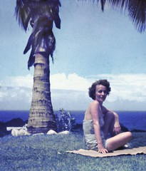 Mother At The Beach House, Caraballeda, Venezuela, 1950s (A.Davey) Tags: venezuela mother palmtrees caribbean beachhouse seaview mymother caribbeansea caraballeda anscocolor americanexpatriates anscocolorslide