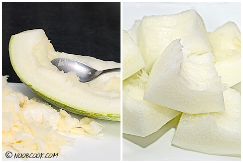 shark fin melon. Shark#39;s Fin Melon (L: removing
