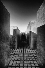 Holocaust Memorial in Mono (Esther Seijmonsbergen) Tags: bw berlin monument germany photography mono holocaust memorial war exposure wwii jews holocaustmemorial leadinglines leadingline digitl leadinline leadinlines goodredroad estherseijmonsbergen wwwdigitalexposurephotographycom