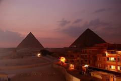 Great Pyramids at Giza. (Globalviewfinder) Tags: africa city travel sunset vacation sun holiday history sunrise evening ancient nikon ship desert pyramid great egypt east cairo camel arab backpack arabia pyramids middle giza pharoh d80 nikond80
