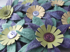 Latest batch of felted flower brooches (fibrespace) Tags: uk flower felted purple handmade brooch lilac