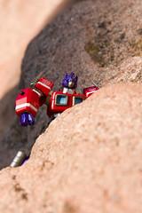 Optimus Climb (JasonCross) Tags: colorado rocks gardenofthegods transformers coloradosprings co optimus rockclimbing convoy optimusprime revoltech canon40d