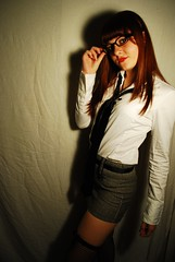 (lizzee.dailey) Tags: portrait color halloween glasses photoshoot jess redlipstick nikond60 crossnecklace schoolgirlcostume softwhitelighting whitecurtainphotoshoot