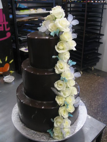 3 Tier Chocolate Wedding Cake White Roses Butterflies