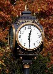 Town Clock 3 (Hammer51012) Tags: autumn fall clock geotagged indiana olympus covington fountaincounty sp550uz