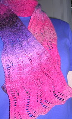 Lace Ribbon Scarf (Pink Knitter) Tags: knitty norokureyonsock knitting2008 laceribbonscarf mosaic2008 knittingatthebench