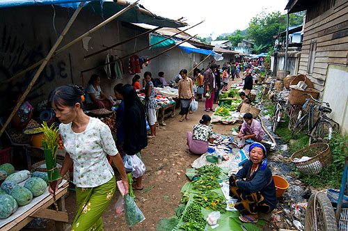 Morning market, Thachilek, Shan State, Myanmar