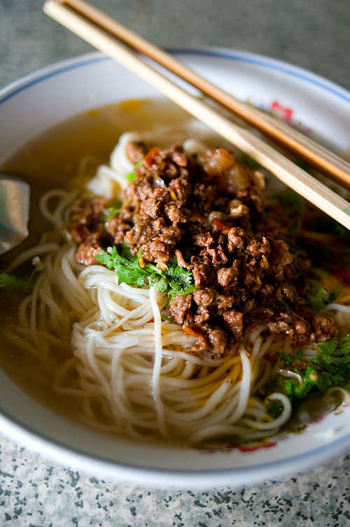 A bowl of hand-pulled noodles at Ah Ying, a Chinese-style noodle shop in Chiang Saen, Chiang Rai, Thailand