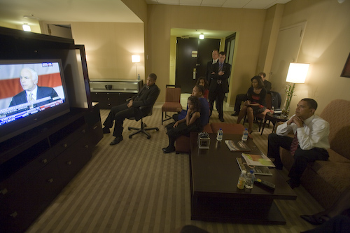 Obama family watching McCain concession speech on TV