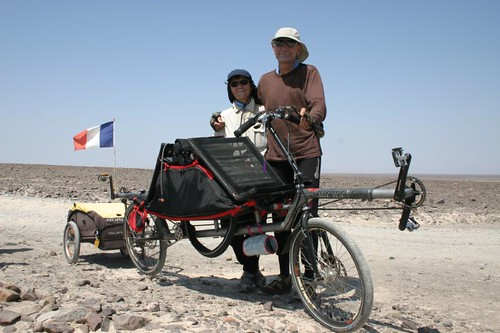 French tandem cyclists Robert et Marise. Nazca, Peru.