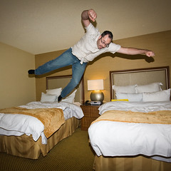 Day 120/365: Bed to Bed (Styggiti) Tags: sanfrancisco california november portrait selfportrait me self eos hotel jump jumping rob 365 2008 leap bedjumping 365days expressionsofself adobemax 120365 max08 max2008