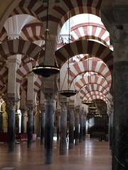 The arches of the Mezquita Catedral in Cordoba.