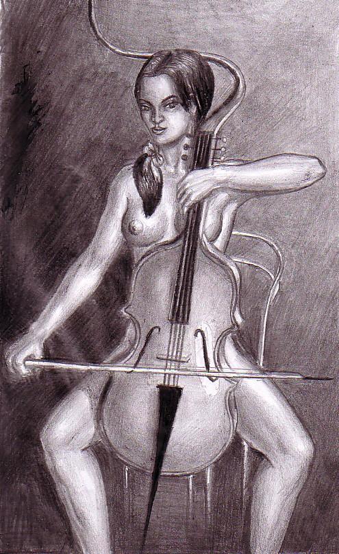 Nud cu violoncel