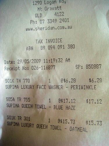 Sheridan receipt