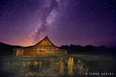 Dark Sky at Mormon Row (James Neeley) Tags: nightphotography stars landscape nikon bravo searchthebest nightsky milkyway grandtetonnationalpark gtnp mormonrow moultonbarn d700 jamesneeley flickr13 vosplusbellesphotos