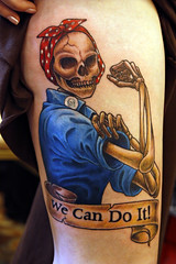 The finished product! (Kerrie Lynn Photography (Sugaree_GD)) Tags: tattoo skeleton rosietheriveter convention lehighvalley wecandoit staceysharp sugareegd skindustry