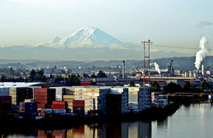 rainier morning 5-19-11 6930 (Light of the Moon Photography) Tags: seattle morning river volcano washington nikon industrial mt mount rainier cascades shipping containers duwamish d7000