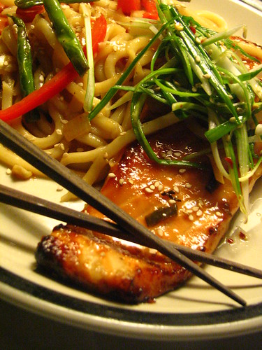 Miso Salmon with Soba Noodles topped with Pa Muchim (Scallion Salad)