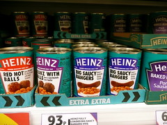 Rude beans - Heinz Big Saucy Bangers (Scorpions and Centaurs) Tags: food shop store inappropriate rude tesco grocery bakedbeans bangers heinz saucy beanz lewd newproduct lincolnshiresausage