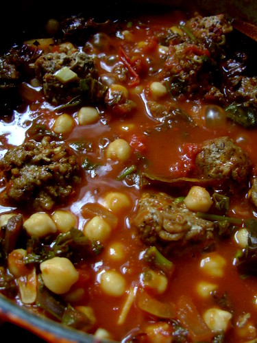 Chick Pea , Kale and Spicy Lamb Meatball Stew