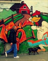 Hoxton Leghorn (Herschell Hershey) Tags: street dog man london art graffiti mural with cunt hard east hoxton devil foghorn leghorn notjustthedog