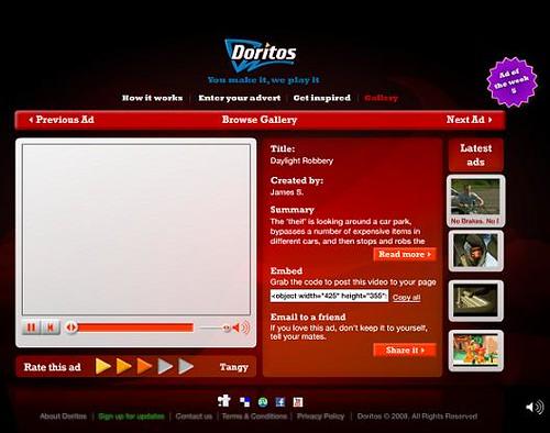 Doritos' user generated campaign website
