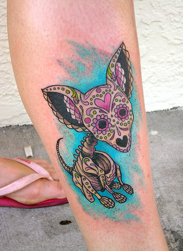 Day of the Dead chihuahua tattoo