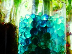 Bluesphere. (Silent Resilience) Tags: blue plants macro home water glass interesting interiors turquoise objects bamboo jar vase centerpiece decor orbs