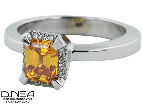 TR3 - Yellow Orange Asscher Diamond Ring