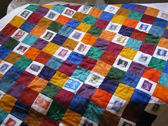 HM Stamp Collection, quilting in progress
