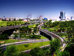 The View Of Tehran - Greens Vs. Blue Sky (Mehrad.HM) Tags: pictures street city bridge blue tree green tower nature landscape highway iran pics sony capital picture bluesky pic greens tehran curve  superhighway hdr highdynamicrange clearsky milad teheran  miladtower h9        modarres   hemmat      iranianpeople sonyh9   dsch9     mehradhm     thechnicolor    modarreshemmatjunction    httpwwwflickrcomgroupsiranianpeople groupsiranianpeople