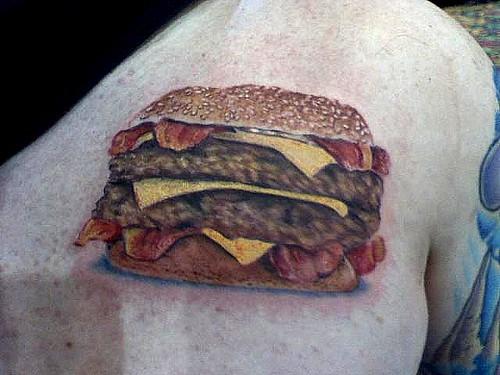 Atom's Bacon Double Cheeseburger Tattoo