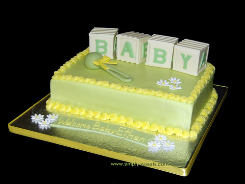 Yellow and green BABY blocks cake