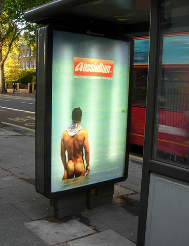 AussieBum ad at bus stop, Kennington