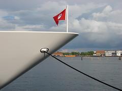 Bow of Mylin IV (individual8) Tags: water copenhagen denmark harbor ship flag july bow 2008