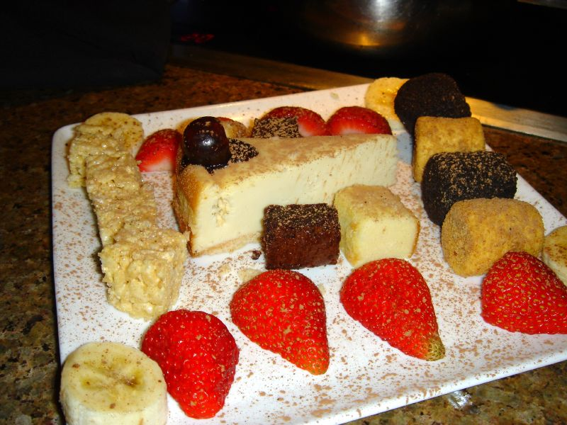 Assortment of dips for chocolate fondue