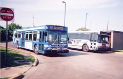 Pace and CTA buses at West 63rd Street and South Archer Road turn a round loop. Summit Illinois. May 2006.