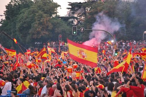 Celebración por el triunfo de España