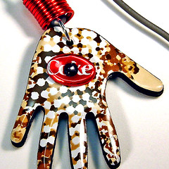 Red Eye ~ 1 of 2 photos (Urban Woodswalker) Tags: etched metal necklace aluminum graphic recycled handmade jewelry etsy eco bold milagro softdrink sodapop aluminumcan pulltabs repurpose hamsa handofmiriam upcycled handoffatima poptabs trashion urbanwoodswalker