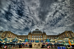 The Kurhaus - HDR (Ageel) Tags: road street trip travel blue sea sky cloud cold holland building history tourism netherlands colors clouds port buildings lens photography nikon colorful europe euro scheveningen culture sigma wideangle bluesky hague 1020mm kurhaus thehague hdr the sigma1020mm  dutchland photomatix tonemapping  ageel