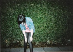 (katiecooperx) Tags: road street uk england film girl night canon garden manchester bush pavement tights stranger pale jordan sidewalk hedge carroll roadside blackhair denimjacket slabs eccles tounges
