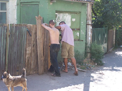 Andriy and Greg working on the fence together