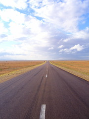 Road to Forever (The Wandering Angel) Tags: voyage road trip travel blue sky choir highway infinity space empty horizon adventure mongolia quotes asphalt distances vast