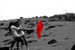 umbrella (Archana Ramaswamy) Tags: red umbrella wind fort goa priya jaya ramaswamy archana chapora chaporafort dementa archanaramaswamy