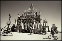The Temple - Basura Sagrada (ivyerimenta) Tags: city party bw white man black art festival rock sepia temple desert nevada playa burningman blackrockcity burning event brc bm northern artinstallation burningman2008 basurasagrada