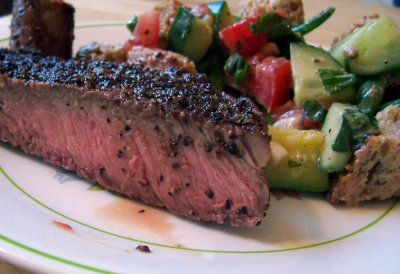 Pepper Crusted Steak with Summer Bread Salad