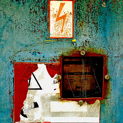 A fat cat sat on the mat (daliborlev) Tags: texture metal square screws rust urbandecay rusty brno oxidation damage electricity bolts peelingpaint lightningbolt warningsign mundanedetail 500x500 electrometer
